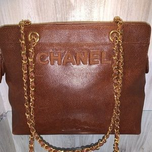 Auth. CHANEL Brown Caviar leather tote purse